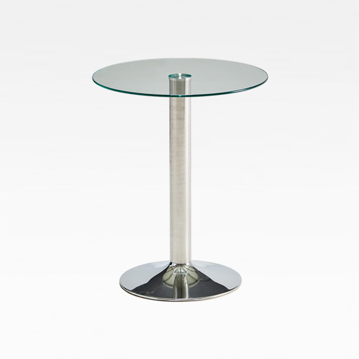 CET-06 강화유리 600원형 크롬 테이블 H710