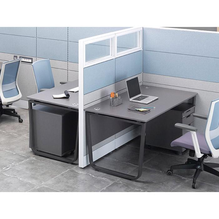 U-LINE 일자형 책상 18T 라운드상판 목재가림형