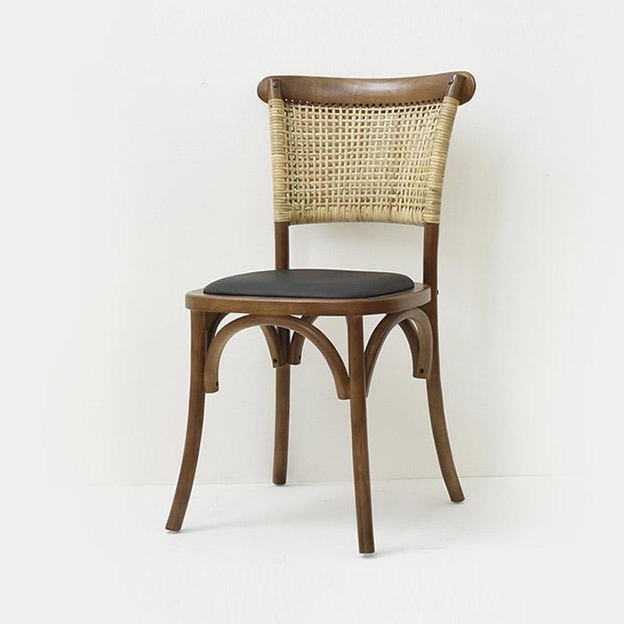 EDW 소울(천연라탄)/원목 식탁 의자 카페 체어