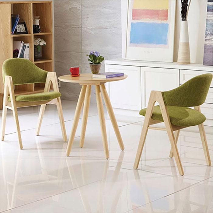 우드내추럴 원형 러브테이블/의자별매