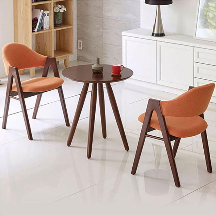 우드브라운 원형 러브테이블/의자별매