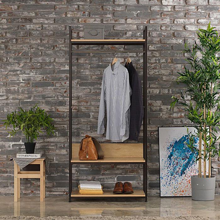 레나 행거 C형(블랙)/옷걸이 철재 선반 드레스룸 수납