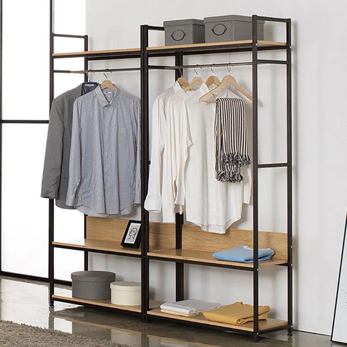 레나 행거세트 C형(블랙)/옷걸이 철재 수납 드레스룸