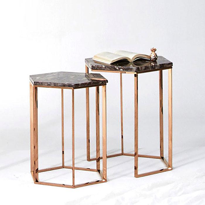 육각 대리석 로즈골드 테이블