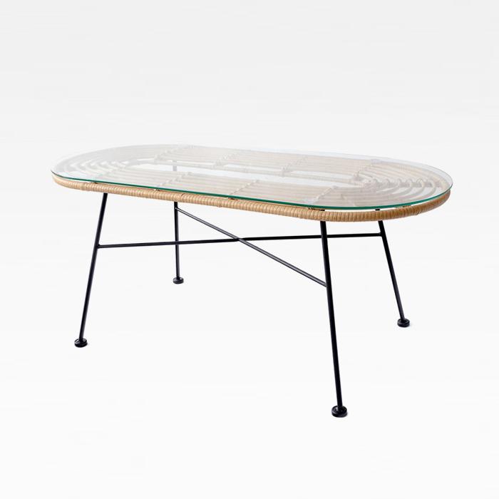 GUT 하바나커피 철재 테이블(인조라탄 유리 0.5T)