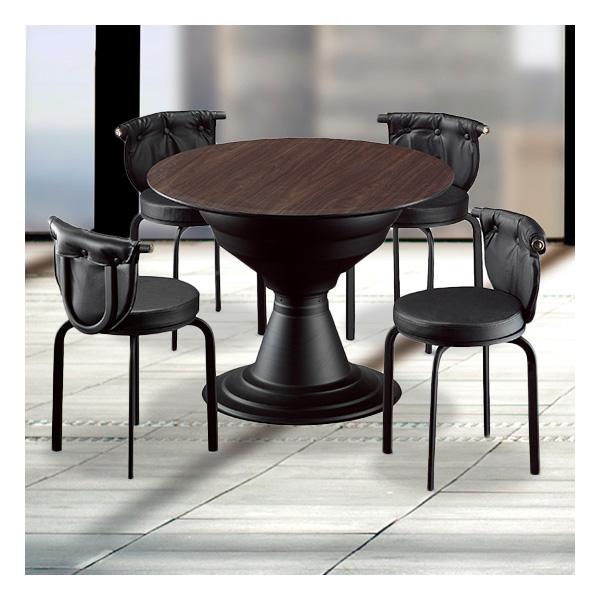 식탁테이블 4인세트 HK 장구다리+라운드단추의자
