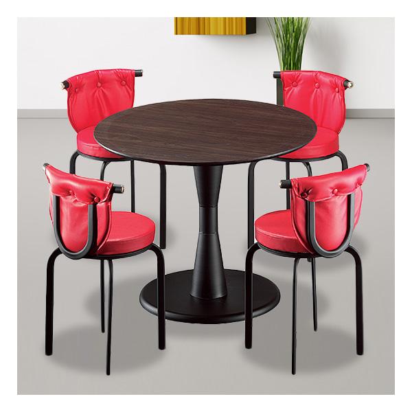 식탁테이블 4인세트 HK 원형다리+라운드단추의자
