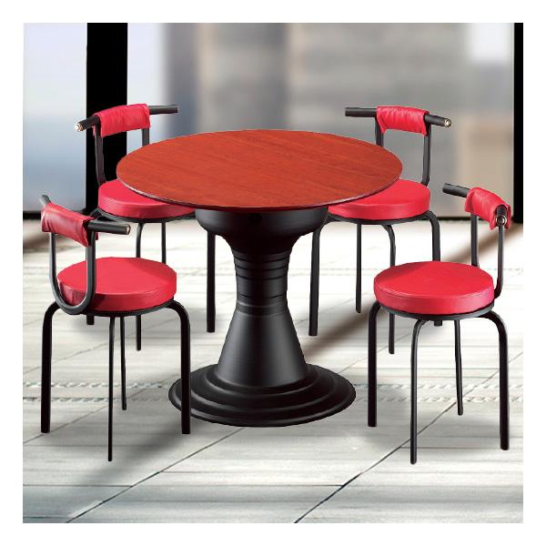 식탁테이블 4인세트 HK 장구다리+라운드덮게의자