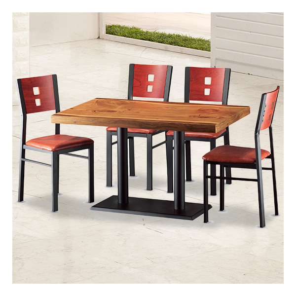 식탁테이블 4인세트 HK 철판다리+각등의자