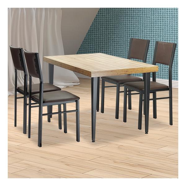 식탁테이블 4인세트 HK 사각홀쭉이+등가죽의자
