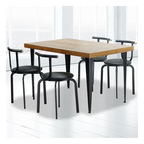 식탁테이블 4인세트 HK 절곡다리+라운드의자