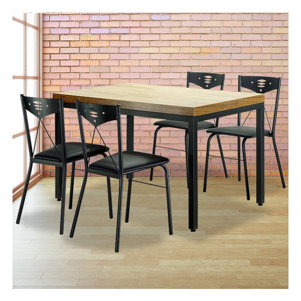 식탁테이블 4인세트 HK 40각+철판의자