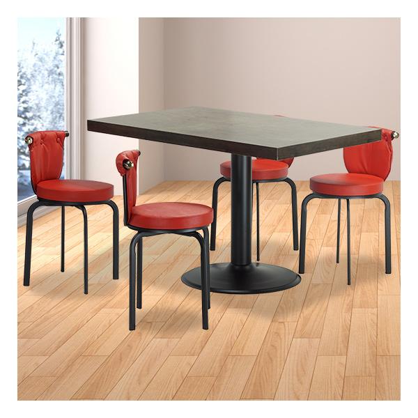 식탁테이블 4인세트 HK 원반다리+라운드단추