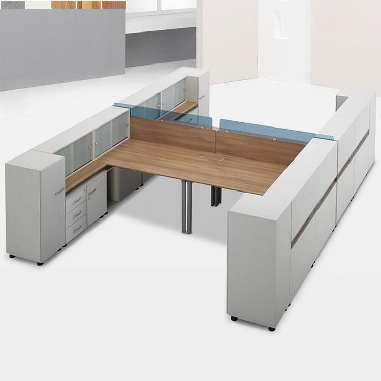 T-SF 책상 세트A/ 사무용 컴퓨터 4인 서랍장 사이드장