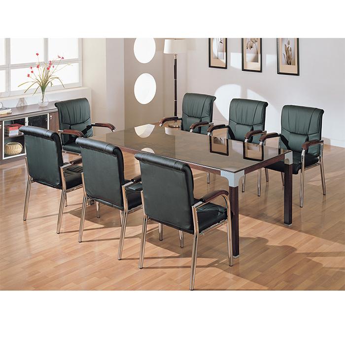월넛 토스카 회의용테이블(갈색유리포함)
