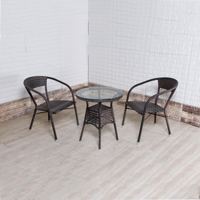 PIU-1401 인조라탄 의자+테이블세트(강화유리1.0T)